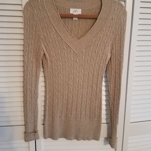 Loft, fitted cable knit sweater
